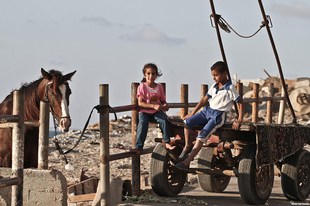 palestinian-children-in-gaza-sitting-on-a-horsecart