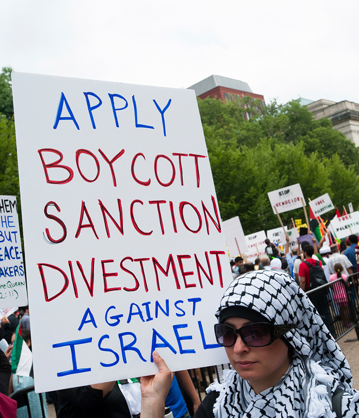 Protestor holds a banner reading 'Apply Boycott, Sanctions and Divestment Against Israel'