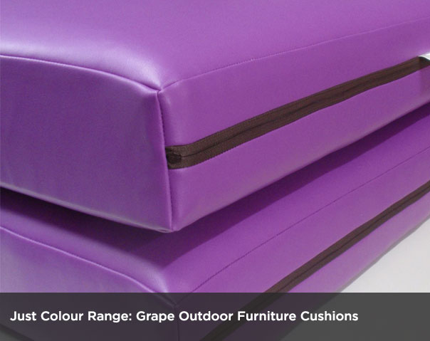 Outdoor Cushions in Grape Just Colour Range. Weather Resistant and Easy to Clean.