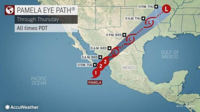 Pamela Hurricane Route Map
