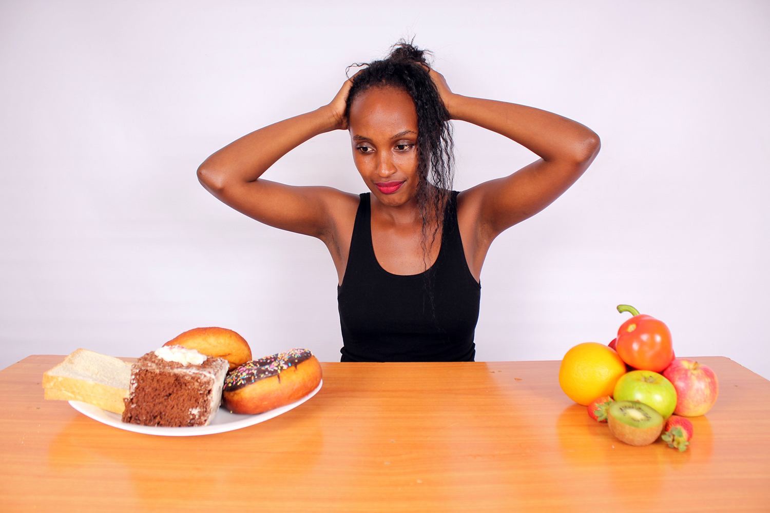 Healthy Woman Confused With Unhealthy Foods And Healthy