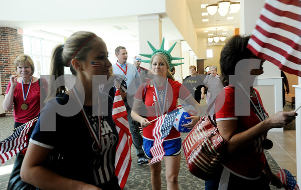 copyright 2012 Sarah A. Miller/Tyler Morning TelegraphKatie Pope of Jacksonville is dressed as Lady Liberty as she arrives with her teammates from Henry