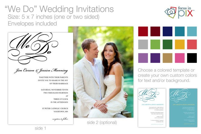 Modern Forever We Do Calligraphy Wedding Invitations