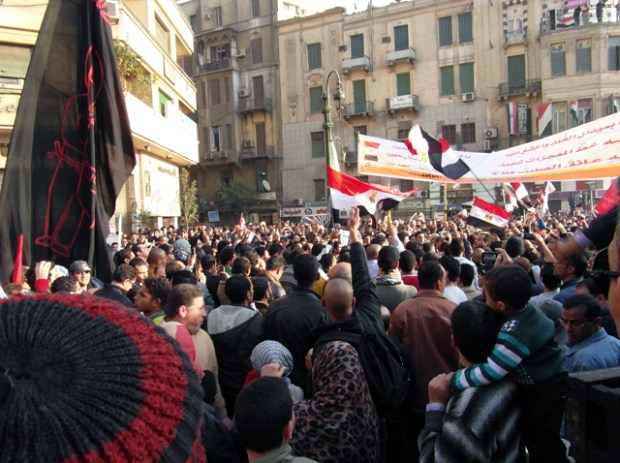 Protestors in Tahrir square, Cairo. Egypt