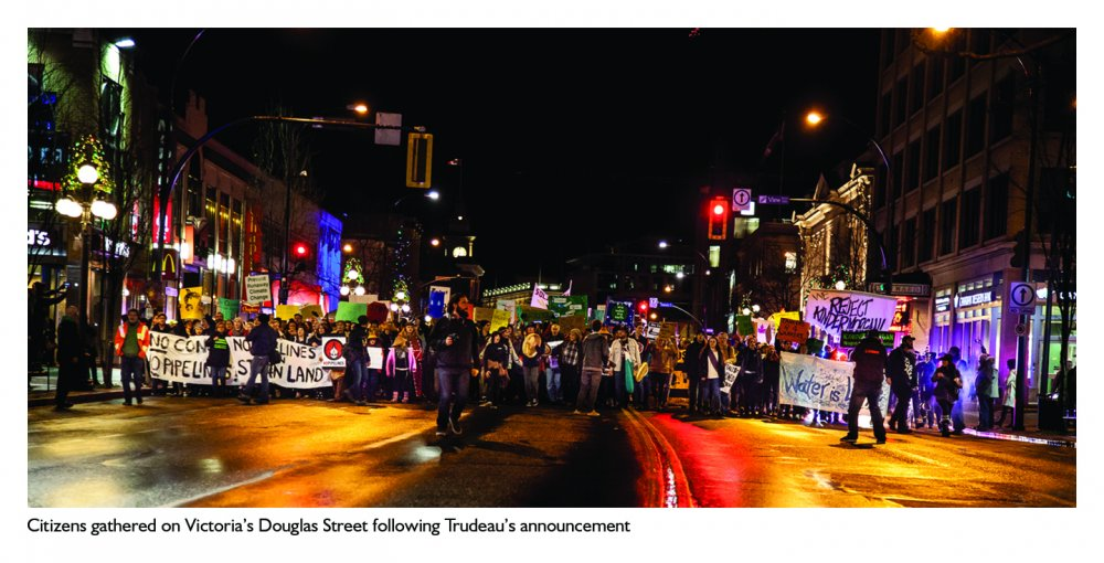 Trans Mountain decision protest on Douglas Street.jpg