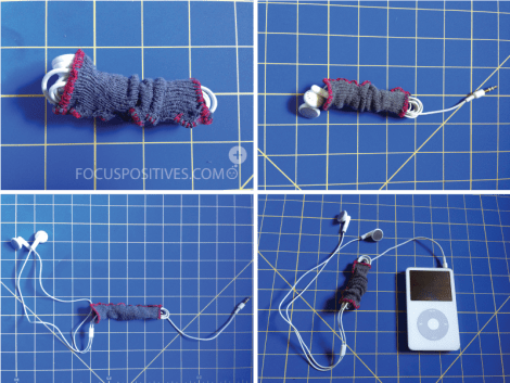 DIY earphone cozy from old socks