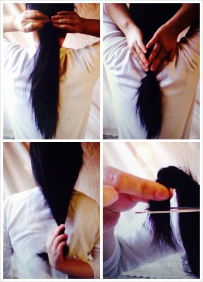 Cut hair into U shape with Rubber Band Method