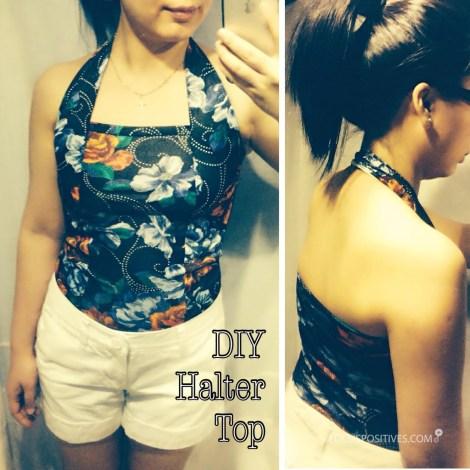 Free Pattern: DIY Halter top using vintage floral fabric ( Summer top )