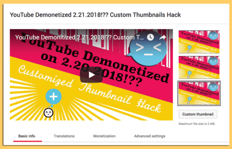 Youtube Custom Thumbnail Hack in Dashboard View