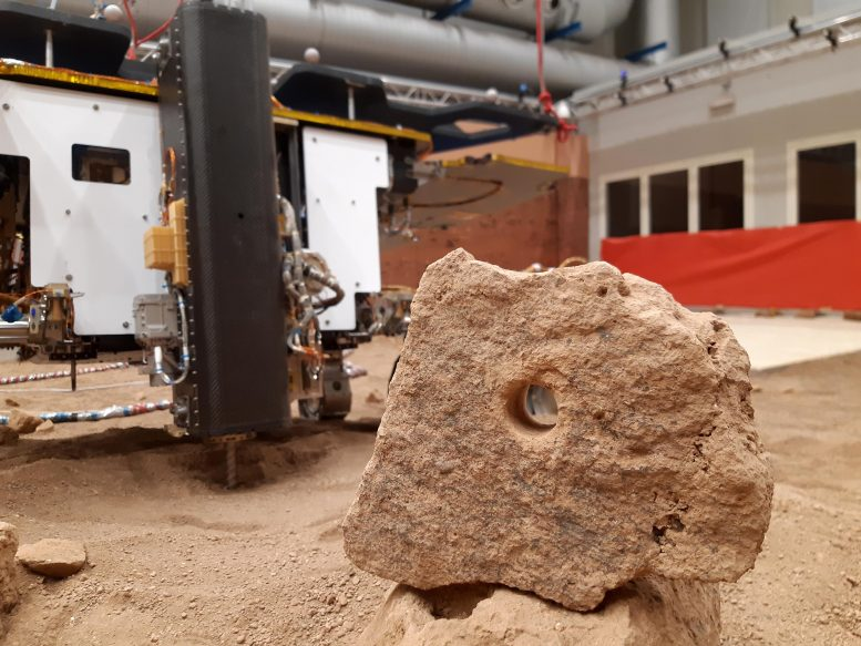 ExoMars Twin Rover First Drilled Hole