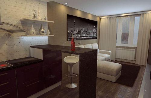 Кухня-гостиная 18 кв. м дизайн фото: студия совмещенная ...