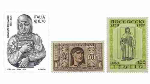 İtalya posta idaresinden çıkan çeşitli Boccaccio pulları