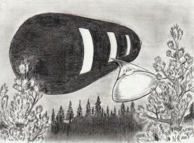 Drawing of the mother ship with scout ship emerging
