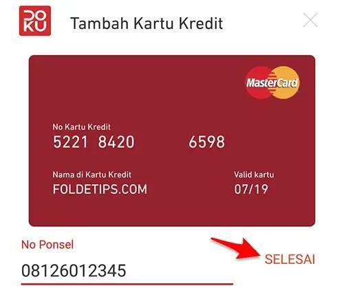 cara menambah kartu kredit di doku wallet