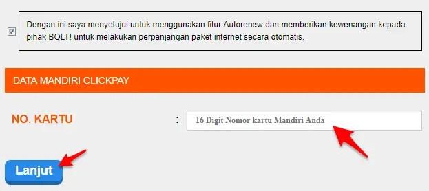 isi ulang bolt dengan mandiri clickpay