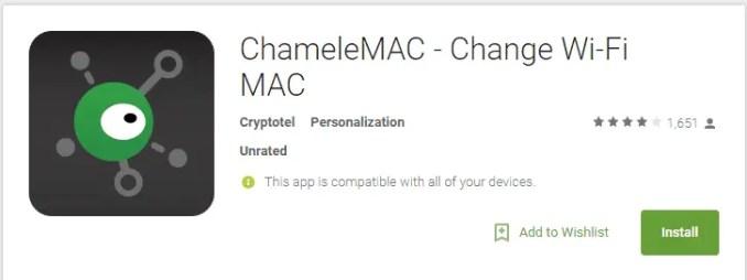 Mengganti MAC Address Android Dengan ChameleMAC
