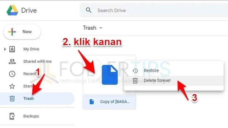 Hapus File di Trash