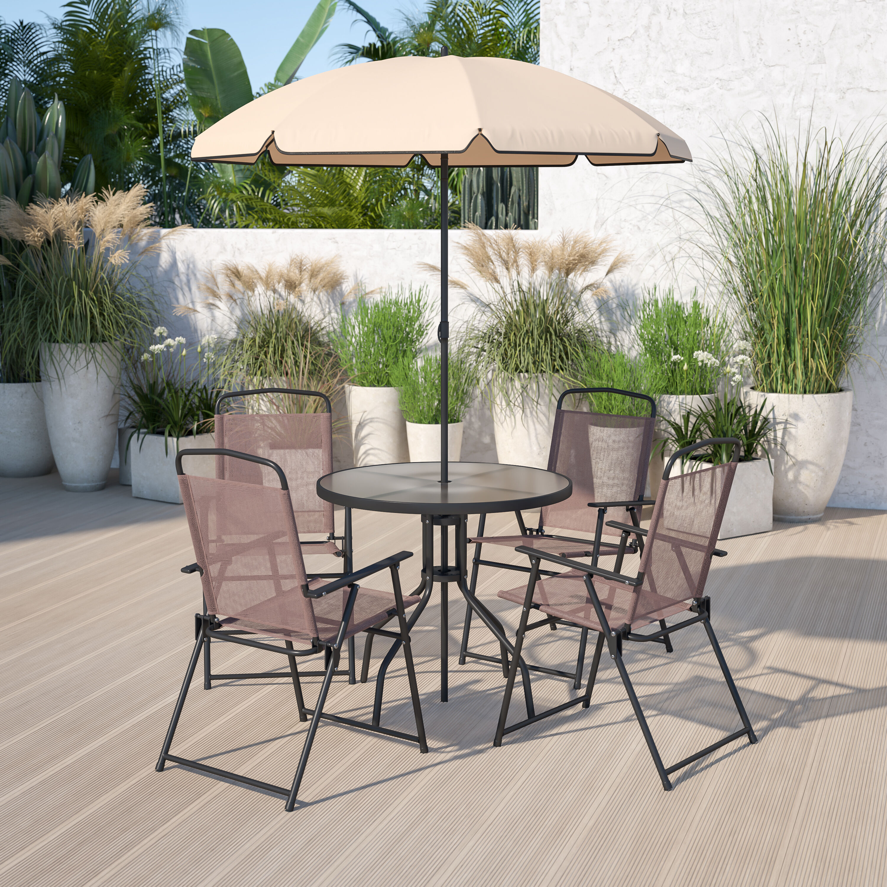 nantucket 6 piece brown patio garden set with umbrella table and set of 4 folding chairs