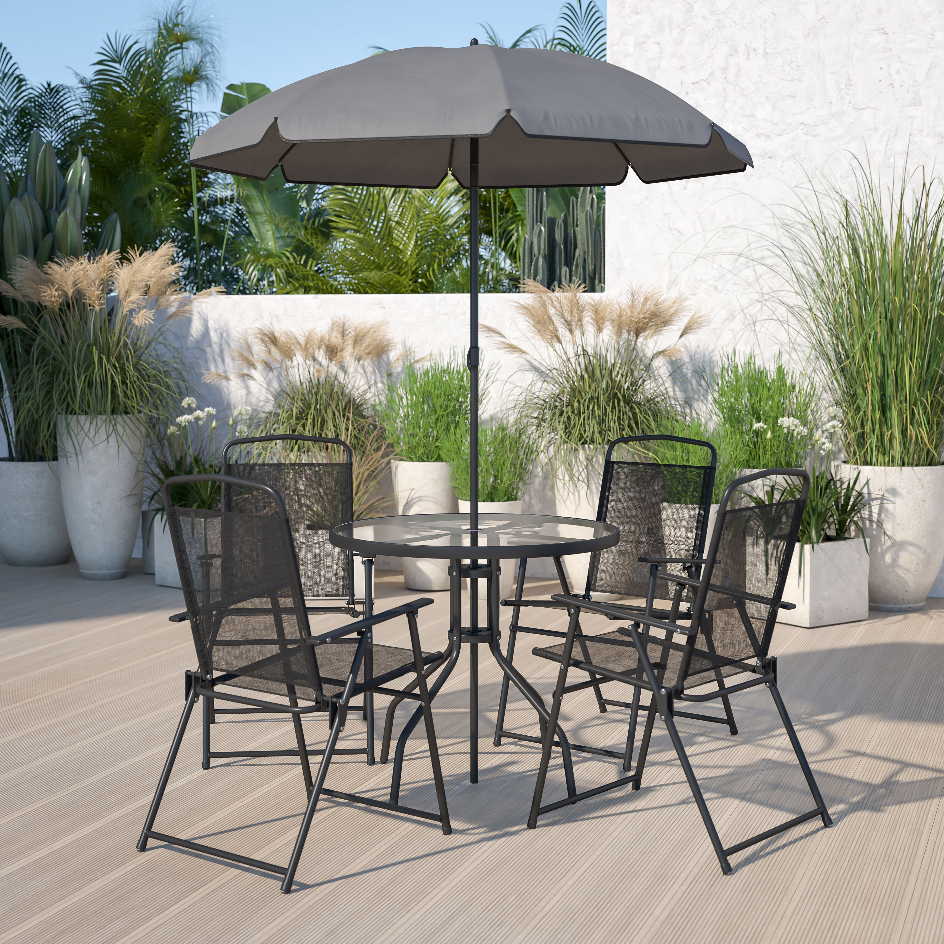 nantucket 6 piece black patio garden set with umbrella table and set of 4 folding chairs