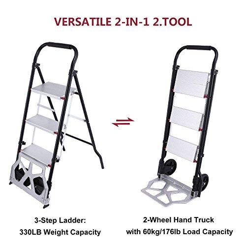 Heavy Duty Folding Hand Truck 2-Wheel Aluminum Cart Multi-Purpose 60 kg Trolley