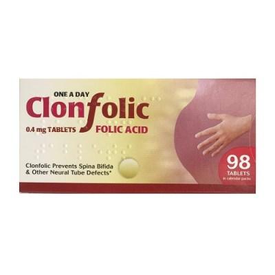 CLONFOLIC 0.4MG FOLIC ACID TABLETS (98)