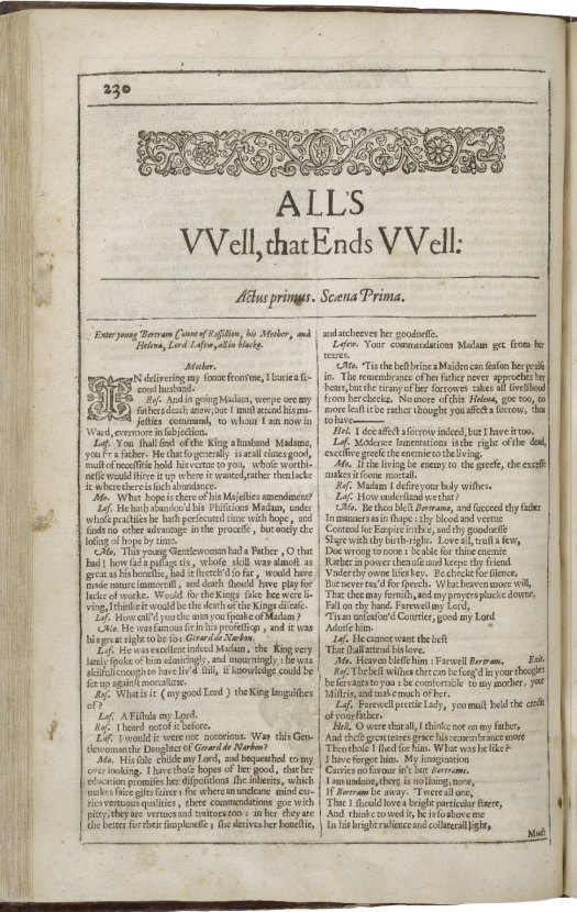 All's Well That Ends Well text (courtesy: Folger Library)