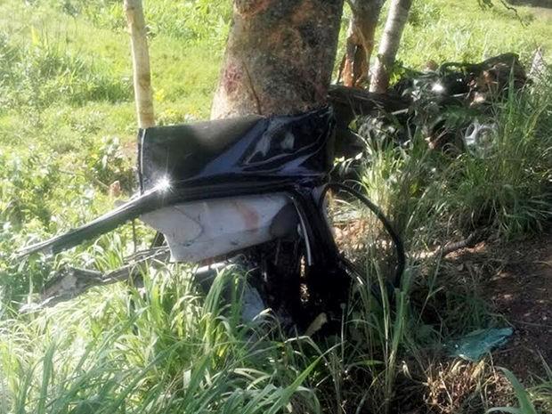 Carro atropelou capivara e bateu em árvore em Poconé (MT): três pessoas morreram. (Foto: PM/Poconé (MT))