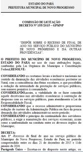 Edital deixado na Prefeitura co recesso até dia 11 de Janeiro de 2016.