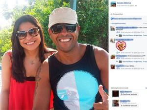 Sandra e o major em foto postada em uma rede social da professora (Foto: Reprodução/ Facebook)