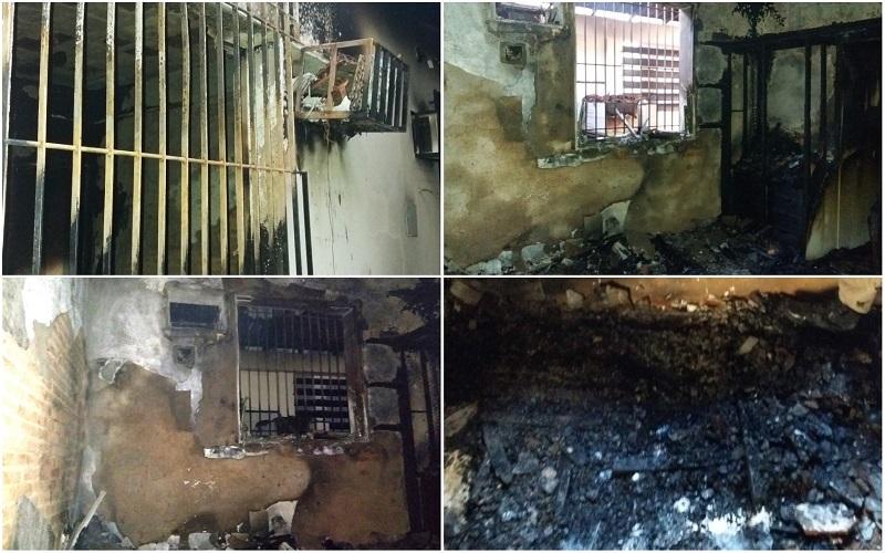Quarto ficou completamente destruído depois do incêndio (Foto: VC no ESTV) IRMÃOS MORTOS EM INCÊNDIO