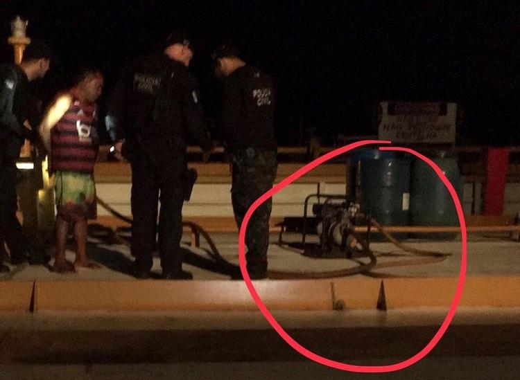 Bomba utilizada para furtar combustível de balsa em Santarém — Foto: Polícia Civil de Santarém/Divulgação