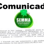 Coronavírus: Secretaria de Meio Ambiente (SEMMA-NP) suspende atendimento