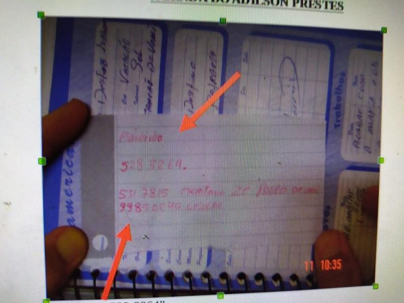 Na agenda de Prestes, o telefone do suposto mandante da morte dele (Foto:Reprodução)