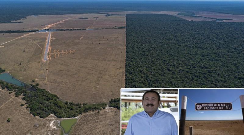 RECORDISTA - Imagem aérea da Fazenda Cristo Rei, de Edio Nogueira, em Mato Grosso: uma multa de 50 milhões de reais pelo estrago e outra, de 2 milhões de reais, por uso de agrotóxico para acelerar aio Guatelli/Reprodução