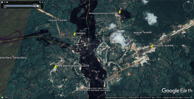Iauaretê em três tempos no Google Earth: 2020, 2016 e 2004.Mapas: Reprodução/Google Earth