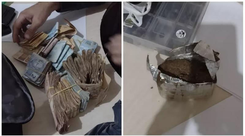 Mais de R$ 42 mil e maconha foram encontradas pela Polícia após revista — Foto: Reprodução/Redes sociais