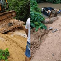 Escavadeira cai de caminhão no momento da travessia de ponte em  Novo Progresso
