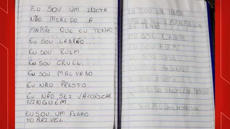 Caderno com frases escritas pelo Miguel, segundo a Polícia Civil, foi apreendido — Foto: Divulgação/Polícia Civil