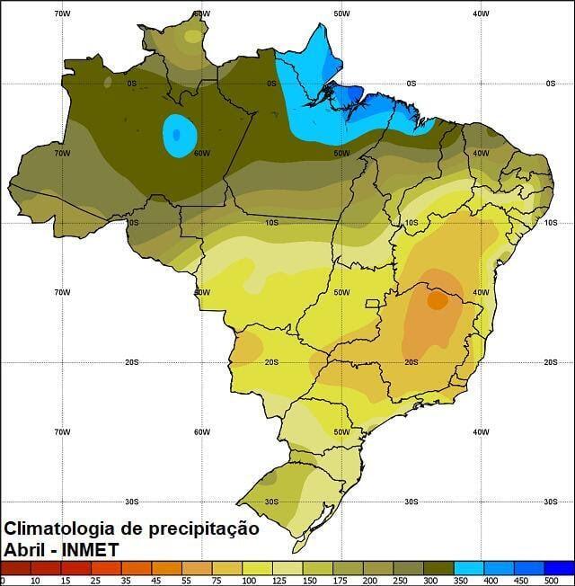 Climatologia de chuva para abril no Brasil (INMET)