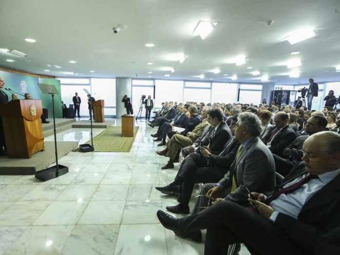 A Lei Geral de Proteção de Dados foi promulgada em 2018 pelo então presidente Michel Temer. Na foto, Temer discursa na cerimônia de sanção da LGPD, no Palácio do Planalto (Foto: Valter Campanato/Agência Brasil)