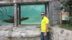 Visitando o zoológico de Santiago no Cerro San Cristóbal.