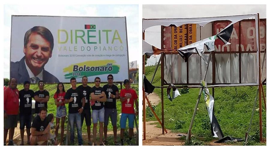 Outdoor de Bolsonaro é depredado e rasgado poucas horas depois de colocado por seus admiradores, em Conceição