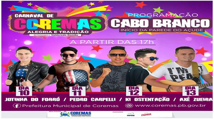 Programação do Carnaval de Coremas
