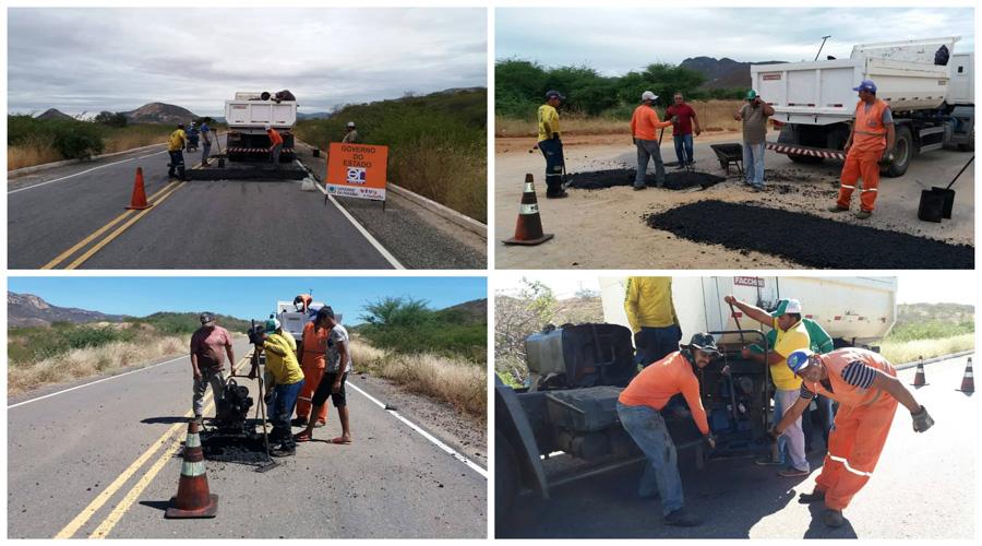 Equipe do DER em Patos realiza serviços na PB-228 e na PB-252