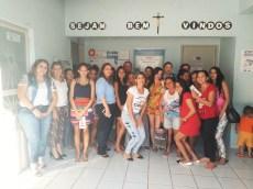 O grupo de gestantes que assistiu a palestrta no CRAS