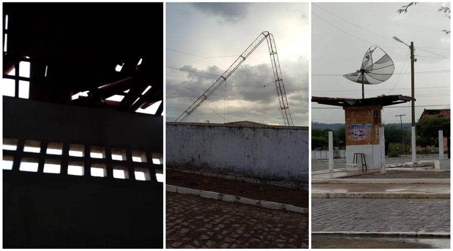 Chuva de granizo e ventania destelha casas, derruba árvores e entorta antenas em São José de Espinharas