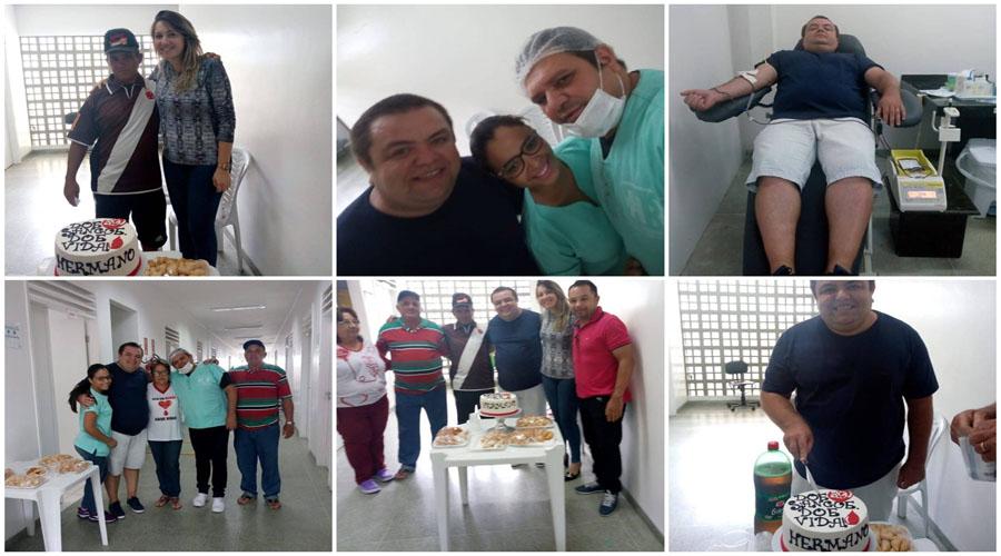Amigos atendem pedido de aniversariante e doam sangue no Hemonúcleo de Patos