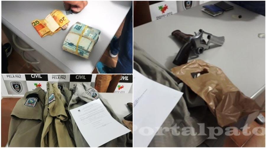 Polícia Civil e Militar prendem comerciante em Patos com arma de fogo, uniforme da PM e dinheiro