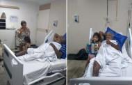 Criança de quatro anos visita Pinto do Acordeon no hospital e canta