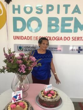 A primeira paciete do Hospital do Bem, a Sra, Marli Alves, de São Mamede, já está curada